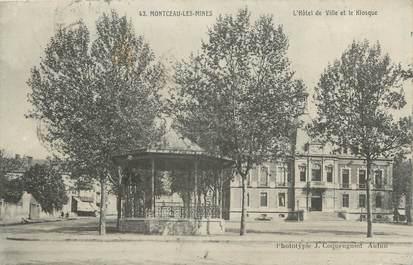 """CPA FRANCE 71 """"Montceau les Mines, L'Hôtel de ville et le kiosque""""."""