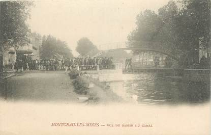"""CPA FRANCE 71 """"Montceau les Mines, Vue du bassin du canal""""."""