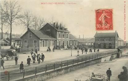 """CPA FRANCE 71 """"Montceau les Mines, Les gares""""."""