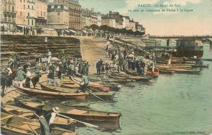 """CPA FRANCE 71 """"Mâcon, Le quai du sud, Un jour de concours de pêche à la ligne""""."""