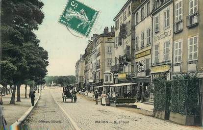 """CPSM FRANCE 71 """"Mâcon, Quai Sud""""."""