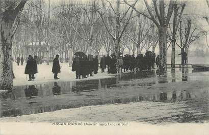 """CPA FRANCE 71 """"Mâcon, Le quai sud inondé"""". / INONDATIONS"""