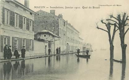 """CPA FRANCE 71 """"Mâcon, Quai du Breuil, Inondations de janvier 1910"""". / INONDATIONS"""