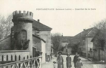 """CPA FRANCE 71 """"Pontanevaux, Quartier de la gare""""."""