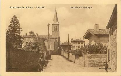 """CPA FRANCE 71 """"Prissé, Entrée du village""""."""