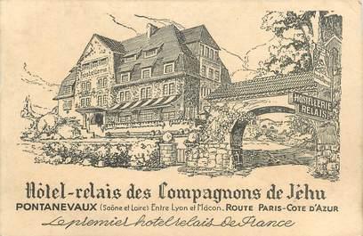 """CPSM FRANCE 71 """"Pontanevaux, Hôtel Relais des Compagnions de Jéhu""""."""