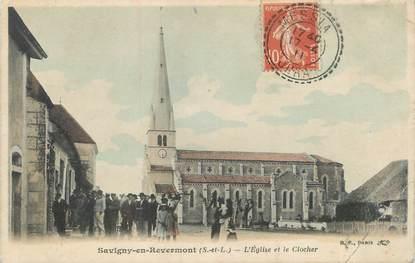 """CPA FRANCE 71 """"Savigny en Revermont, L'église et le clocher""""."""