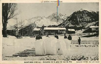 """CPA FRANCE 73 """"Saint Bon, Extraction de la Glace du Lac du Pra"""""""