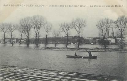 "CPA FRANCE 71 "" St Laurent les Macon, La digue"". / INONDATIONS DE 1910"