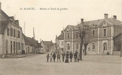 """CPA FRANCE 71 """" St Marcel, Mairie et école de garçons""""."""