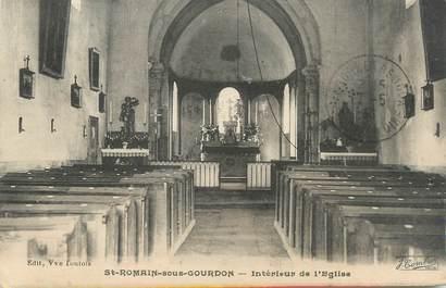 """CPA FRANCE 71 """" St Romain sous Gourdon, Intérieur de l'église""""."""