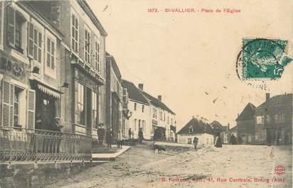 """CPA FRANCE 71 """" St Vallier, Place de l'église""""."""