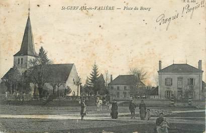 """CPA FRANCE 71 """" St Gervais en Valière, Place du Bourg""""."""