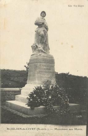 """CPA FRANCE 71 """" St Julien de Civry, Le monument aux morts""""."""