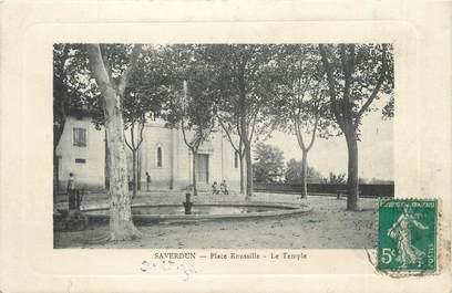 """CPA FRANCE 09 """" Saverdun, Place Roussille, Le temple""""."""