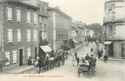"""CPA FRANCE 09 """" St Girons, Rue Villefranche""""."""