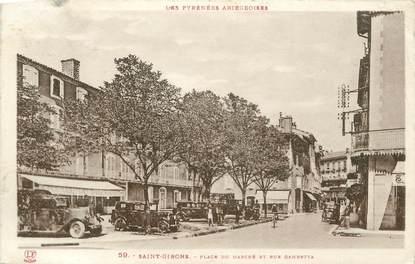 "CPA FRANCE 09 "" St Girons, Place du marché et rue Gambetta""."
