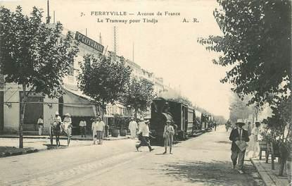 """CPA TUNISIE """"Ferryville, avenue de France"""" / TRAMWAY"""