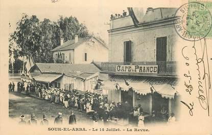 """CPA TUNISIE """"Souk El Arba, la Revue du 14 juillet"""""""