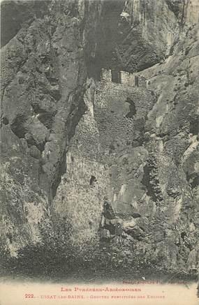 """CPA FRANCE 09 """" Ussat les Bains, Grottes fortifiées des églises""""."""