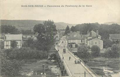 """CPA FRANCE 10 """" Bar sur Seine, Panorama du faubourg de la gare""""."""