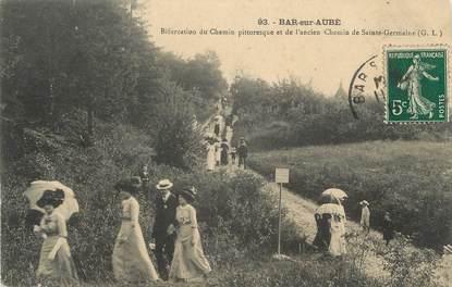 """CPA FRANCE 10 """" Bar sur Aube, Bifurcation du chemin pittoresque et de l'ancien chemin de Ste Germaine""""."""