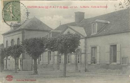 """CPA FRANCE 10"""" Châtres, La Mairie, école de garçons""""."""