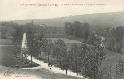 """CPA FRANCE 10"""" Gyé sur Seine, La route de Châtillon et le village de Courteron""""."""