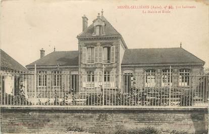 """CPA FRANCE 10 """" Mesnil Sellières, La Mairie et l'école""""."""