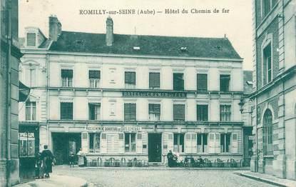 """CPA FRANCE 10 """" Romilly sur Seine, Hôtel du Chemin de Fer"""". / TIMBRE FM"""