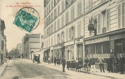 """CPA FRANCE 93 """"Pantin, La Rue de Paris et la Poste"""""""