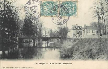 """CPA FRANCE 10 """" Troyes, La Seine aux Charmilles""""."""