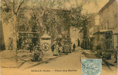 """CPA FRANCE 11 """" Azille, Place aux herbes""""."""