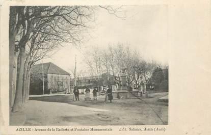 """CPA FRANCE 11 """" Azille, Avenue de la redorte et fontaine monumentale""""."""