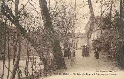"""CPA FRANCE 11 """" Alet les Bains, Un coin du parc de l'établissement thermal""""."""