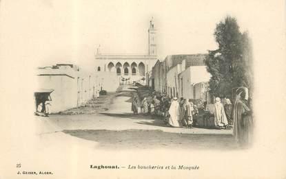 """CPA ALGERIE """"Laghouat, les boucheries et la Mosquée"""""""