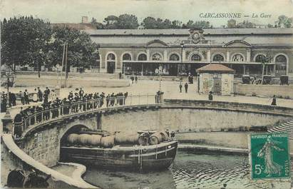 "CPA FRANCE 11 "" Carcassonne, La gare""."