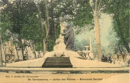 """CPA FRANCE 11 """" Carcassonne, Le jardin des plantes, le monument Sarraut""""."""