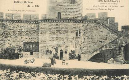 """CPA FRANCE 11 """" Carcassonne, Le Théâtre antique de la Cité"""". / THEATRE / HOPITAL ANNEXE MICHELIN"""