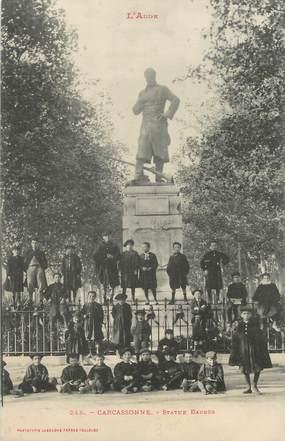 "CPA FRANCE 11 "" Carcassonne, Statue Barbès""."