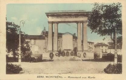 """CPA FRANCE 11 """" Montréal, Le monument aux morts""""."""