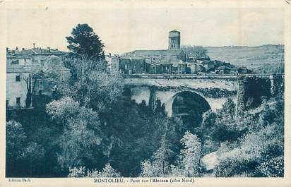 """CPA FRANCE 11 """" Montolieu, Pont sur l'Alezeau""""."""