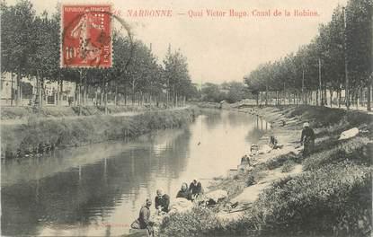 "CPA FRANCE 11 ""Narbonne, Quai Victor Hugo, Canal de la Bobine""."