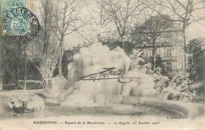 """CPA FRANCE 11 """"Narbonne, Square de la Révolution """". / CARTE EN SOIE"""