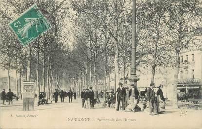 "CPA FRANCE 11 ""Narbonne, La promenade des barques""."