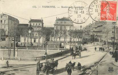 """CPA FRANCE 11 """"Narbonne, Le Boulevard Gambetta""""."""