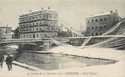 """CPA FRANCE 11 """"Narbonne, Le Cyclone du 20 décembre 1920, Le pont Voltaire""""."""