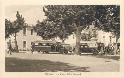 """CPA FRANCE 11 """"Quillan, Place Félix Armand"""". / AUTOBUS"""