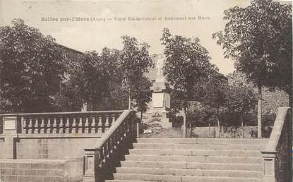 """CPA FRANCE 11 """"Salles sur l'Hers, Place Emile Coural et monument aux morts""""."""