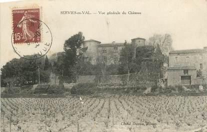 """CPA FRANCE 11 """"Serviès en Val, Vue générale du château"""""""